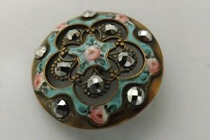 RARE ANTIQUE FRENCH ENAMEL AND CUT STEEL BUTTON GOOD CONDITION 3.5CMS (3378)