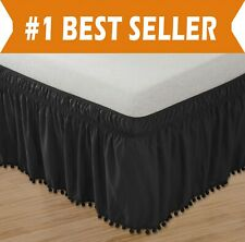 Top-Knot Tassle Pompom Fringe Ruffle Skirt Around Style Elastic Bed Wrap