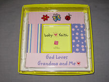 Russ Berrie Baby Faith 3x3 Picture Frame Ceramic Grandma Pink New!