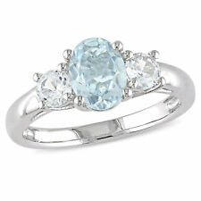 Amour Sterling Silver Oval-cut Aquamarine & Created White Sapphire 3-stone Ring