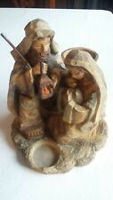 Roman Inc. Christmas Holy Family Nativity Statue - Candle Holder - Carved Look
