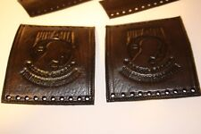 Heavy Duty Antiqued Black Leather Motorcycle Grip and Lever Covers Set POW/MIA
