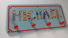 Michael Name Wall Coat Jacket Hanger VTG Decor 1969 Happy Clowns Bedroom Mike