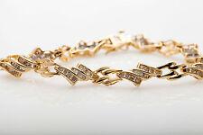 "Estate $7000 2ct Round Baguette Diamond 14k Yellow Gold Tennis Bracelet 7.5"""
