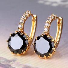 24k Yellow gold filled black sapphire bling bling design woman leverback earring