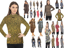 LADIES WOMEN LEOPARD POLO CREW NECK TOP SHIRT OFF SHOULDER DRESS MIDI CARDIGAN