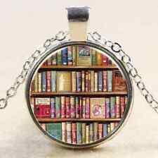 Vintage Books Cabochon Tibetan silver Glass Chain Pendant Necklace #1504