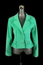 womens green ribbed TULLE corduroy blazer jacket modern casual stretch cotton L