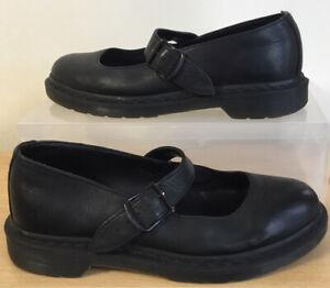 Ladies Dr Doc Martens Mariel Black Leather Mary Jane Shoes UK 6 EU 39