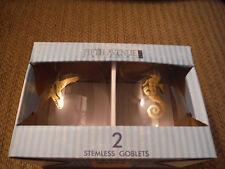 NEW FIFTH AVENUE Ltd Set of 2 Crystal Stemless Goblets -Coastal Collection 17 oz