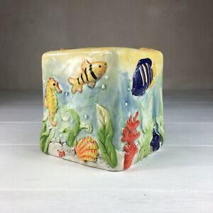 Square Ceramic Tissue Cover Box Ocean Nautical Fish Aquarium Baum Bros. {NICE}