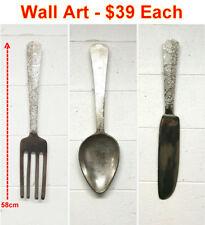 Wall Art Assorted Cutlery - Silver Spoon 58cmx18cm Modern Designer Range