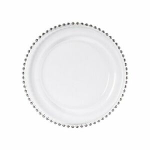 WEDDINGGENERAL'S GLASS CHARGER PLATE BEADED SILVER XMAS EVENT WEDDING 33CM DIA