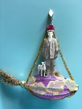 Christmas ornament Victorian Boy with a dog in a dirigible