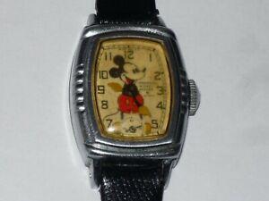 1938 INGERSOLL WATERBURY MICKEY MOUSE WRIST WATCH - RUNS GREAT!