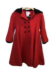 Girls FLORENCE EISEMAN Red Winter Wool Coat Size 6 Fit & Flare Hooded