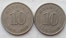 Malaysia 10 sen 1968 coin 2 pcs