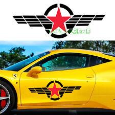 2 Large Military Symbol Red Star Black Stripe Windshield Vinyl Car Sticker Decal