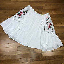 Umgee Embroidered Off Shoulder Peasant Blouse XL White Floral Lace Bell Sleeve