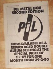 PIL Public Image Ltd metal box 2nd 1980 press advert Full page 37 x 27 cm poster