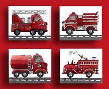 vintage firetruck nursery wall art print fire trucks bedding decor picture