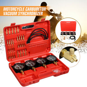 Motorcycle Carb Carburetor Vacuum Synchronizer 4 Gauges Balancer Meter Tool UK