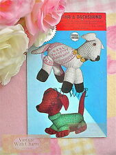 Vintage 40s Toy Knitting Pattern Dachshund Dog In A Jumper & Spring Lamb 99p!!!
