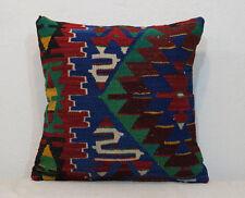 Kilim Pillow Cover 20x20 inches Blue Pillow Cover,Blue Cushion Cover Boho Pillow
