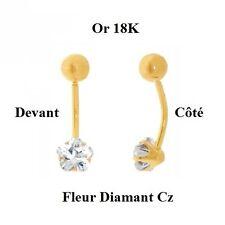 Percing Nombril Boule et Tige Or Massif 18K et Fleur de Diamant Cz Dolly-Bijoux