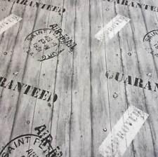 Stoff Meterware pflegeleicht Holz Bretter grau Stempel Dekostoff schwarz