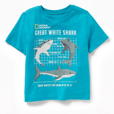 NEW National Geographic GREAT WHITE SHARK Toddler Boys Ocean Graphic Tee Shirt