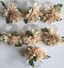 Vintage Plastic Clear Ring W Beige Flower Napkin Rings Holders- set of 7