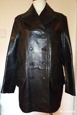 Prada Mens Steerskin Leather Heavy Four Pocket Peacoat Size 44