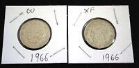 SWEDEN 1966 LOT 2 SILVER 1 KRONOR COINS  - GUSTAF VI ADOLF UNCIRCULATED