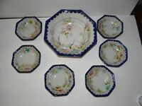 Nippon Hand Painted Berry Bowl Set Cobalt & Floral 1 Large 6 Small Bowls