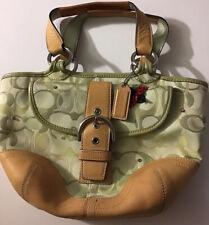 $228 Coach Ladybug Hobo Optic Logo Fabric Leather Swarovski Green Bag (flaw)