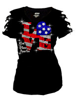 Bling Rhinestones 4th July T-shirt Ripped Slit Cut Out American Flag LOVE S~4X
