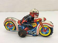 Vintage Nomura Japan Military Police M.P. Tin Friction Motorcycle Toy