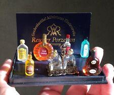 Reutter Porcelain Top Shelf Liquor Bottle Set Bar - Germany Dollhouse Miniature