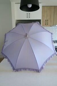 Antique Victorian Umbrella Edwardian Old with Wood Carved Handle & Tassel