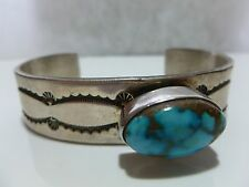 Turquoise Sterling Silver Cuff Bracelet Able Arthur Native American Navajo
