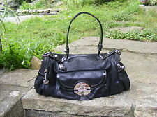 KATHY VAN ZEELAND Handbag, Black Textured Barrel style Purse, KVZ Pocketbook
