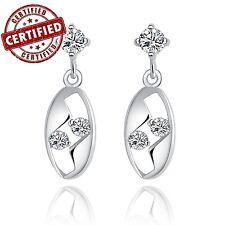 Solid Sterling Silver Oval Shaped w/ CZ Dangle Earrings Nickel Free