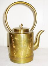 Vintage Asian Solid Brass Teapot Engraved Flowery Design Nr