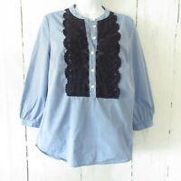 Boden Liliana Popover Top US 4 UK 8 Blue Chambray Crochet 3/4 Sleeve