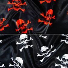 Polyester Satin Fabric Halloween Skulls & Crossbones Pirates140cm Wide Skull