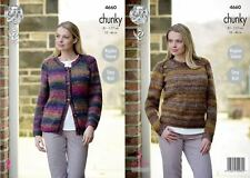 King Cole  Chunky  Knitting Pattern 4660: Easy Knit Sweater & Cardigan