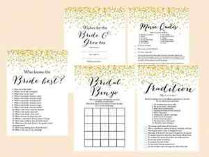 Print Yourself Gold Confetti Modern Bridal Shower Game Pack Printable BS46 B