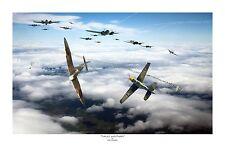 "WWII WW2 RAF Luftwaffe Battle of Britain  Aviation Art Photo Print - 12"" X 18"""