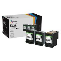 LD InkPods Ink Cartridge Replacements for HP 65XL Black 3-Pk with OEM printhead